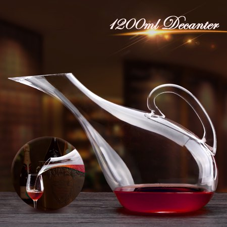 1200ML Swans Red Wine Decanter Lead-free Crystal Glass Decanter Carafe Pourer Bar Equipment Aerator for Home -