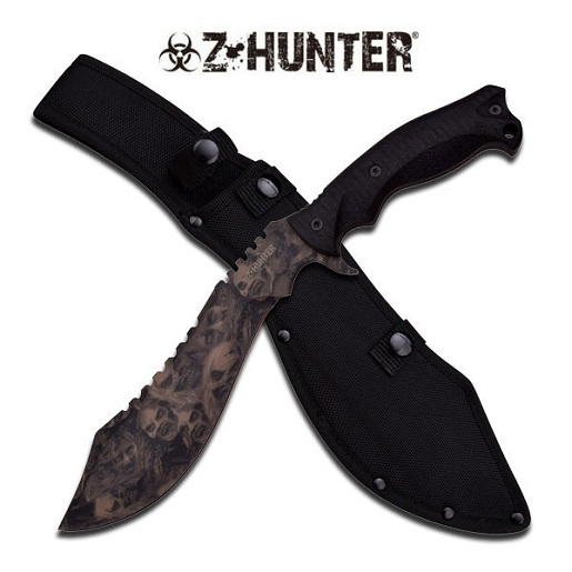 "Master Cutlery ZB-117TN Z-Hunter 15.25"" Kukri Machete Tan Skull Camo Blade Black Rubber Handle with"