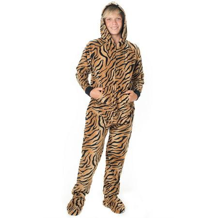 Footed Pajamas - Tiger Stripes Kids Hoodie Fleece - Tigger Onesie