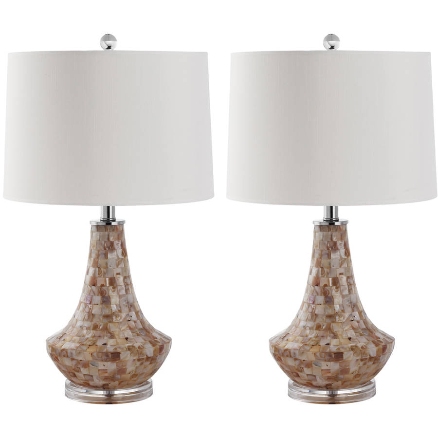 Safavieh Kobe Shell Table Lamp with CFL Bulb, with Off-White Shade, Set of 2