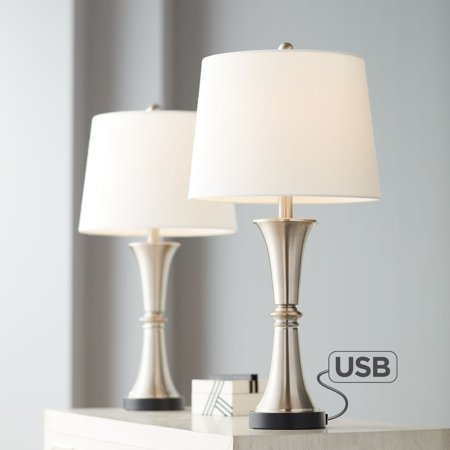 360 Lighting Seymore Touch Table Lamps Usb Ports And Led Bulbs Set
