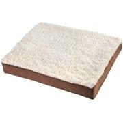 "OxGord Ultra Plush Delux Orthopedic Pet Bed, Small, 20""x15"", White/Brown"