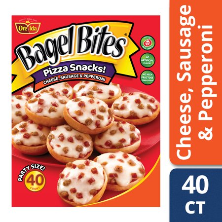 Bagel Bites Cheese Sausage Pepperoni Pizza Snacks 40 Count Box