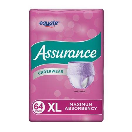Assurance Incontinence Underwear, Women's, Maximum, Size XL, 64 Count