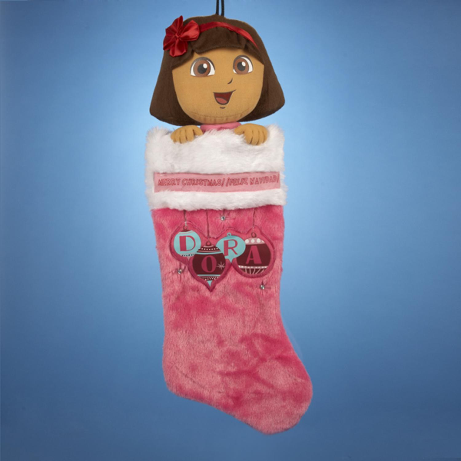 Pack of 4 Pink Plush Head Dora Christmas Stockings 19