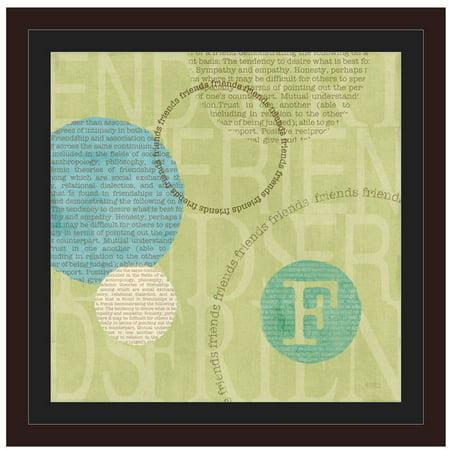 Circle Of Words - Friends by Eazl Walnut Framed Premium Gallery Wrap Easel Walnut Frames