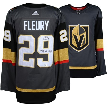 221f54da39f Marc-Andre Fleury Vegas Golden Knights Autographed Black Adidas Authentic  Jersey with 1st VGK Win 10/06/17 Inscription - Fanatics Authentic Certified  ...