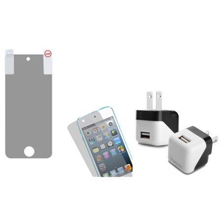 Insten LCD Screen Protector Case For iPod Touch 6 6G 5 5G + USB Travel Adapter Charger (2-in-1 Accessory Bundle) ()