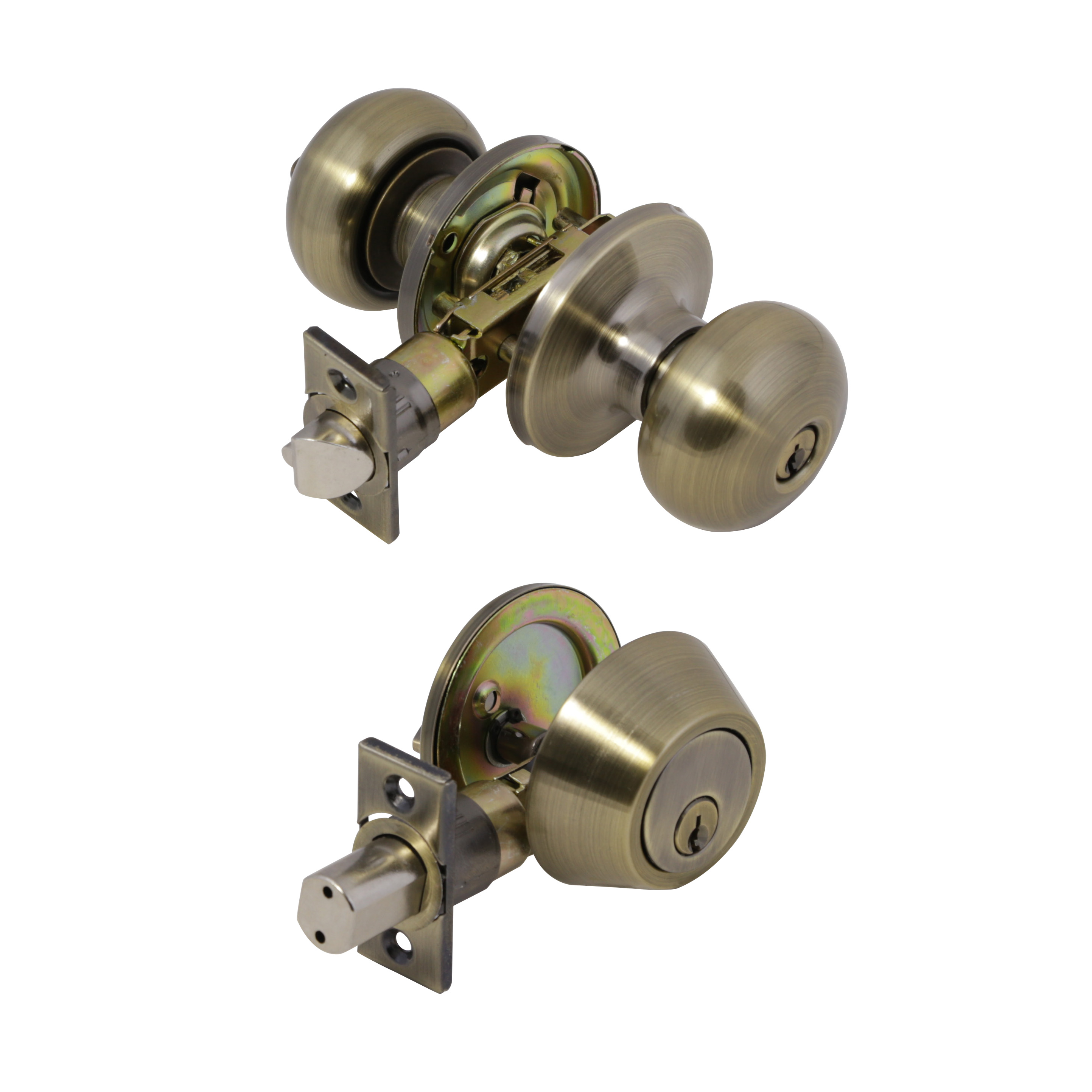 Design House 727297 6-Way Universal Canton Entry Combo Knob, Antique Brass