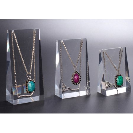 Pennant Holder - Meigar 3Pcs Acrylic Jewelry Stand Necklace Pendant Display Show Case Organizer Holder
