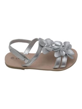 dedb75de9f5203 Product Image L Amour Girls Silver Flower Blossom Accent Strap Sandals 7-10  Toddler