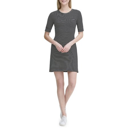 Striped T-Shirt Dress (Calvin Klein Sweater Dress Black And White)