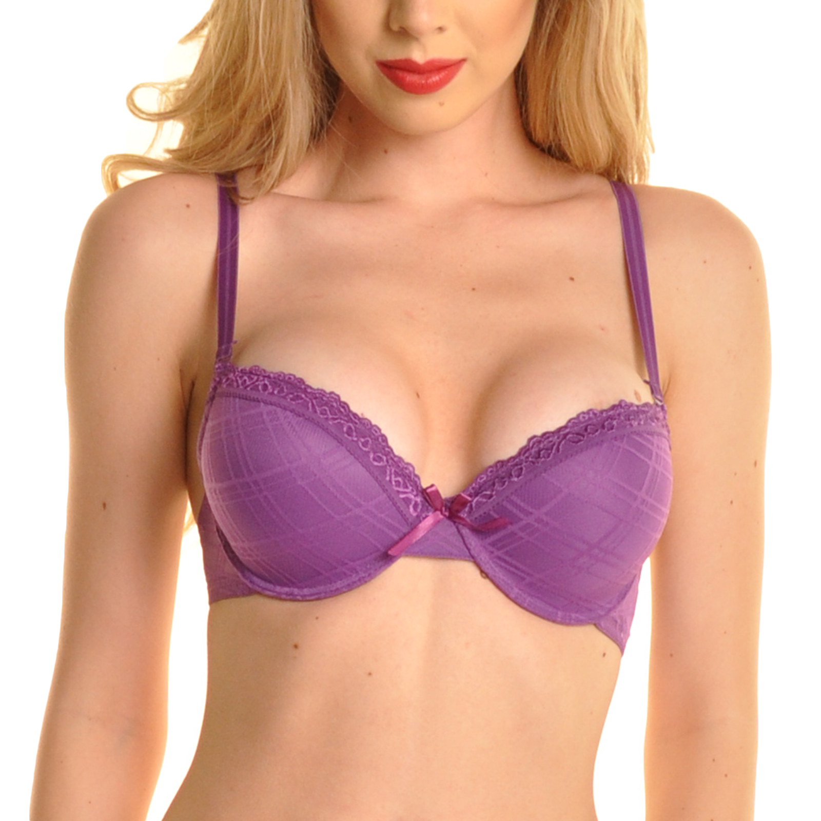 Angelina 6-Pack Checkered Mesh See-Through Wings Convertible Bras