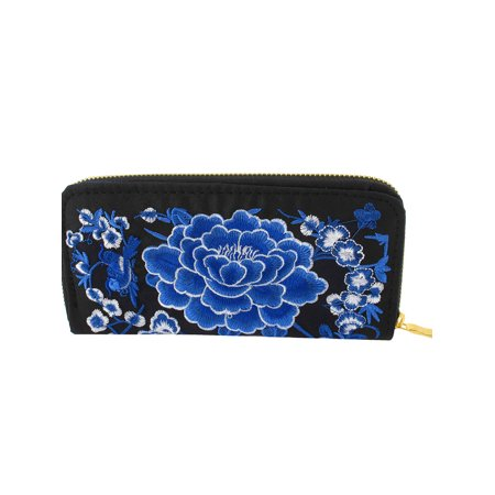 Women Ladies Embroidered Blue Flowers Zipper Closure Wallet Purse Handbag