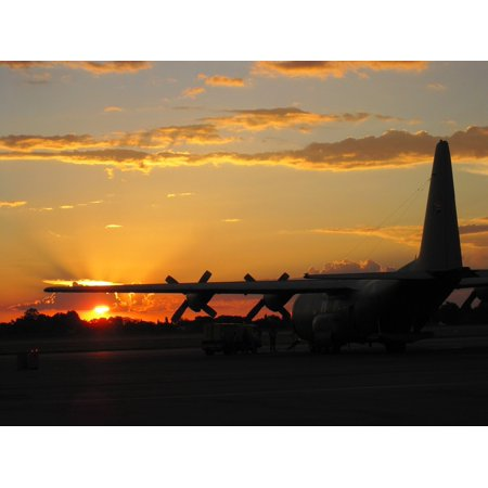 LAMINATED POSTER C-130 Airfield Aircraft Twilight Airplane Sunset Poster Print 24 x -