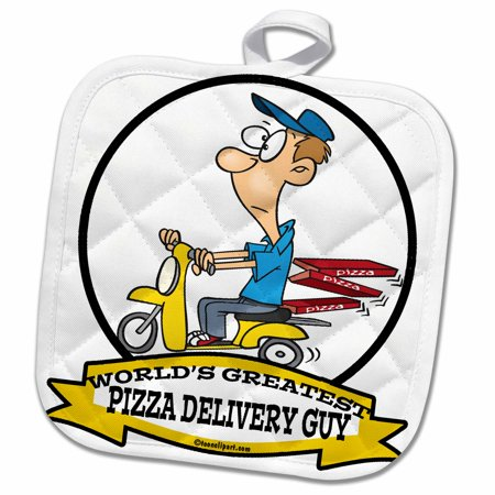 3dRose Funny Worlds Greatest Pizza Delivery Guy Cartoon - Pot Holder, 8 by 8-inch