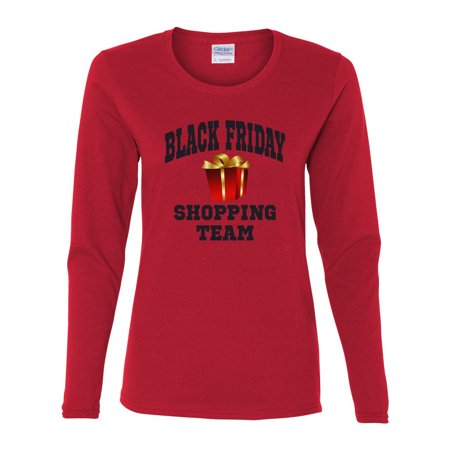 Black Friday Shopping Team Christmas Womens Long Sleeve T-Shirt Top