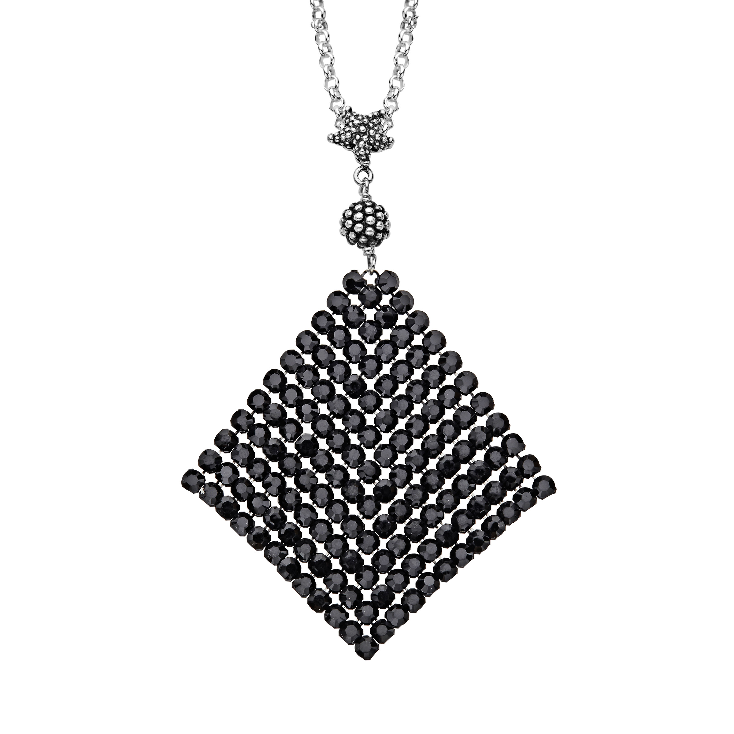Aya Azrielant Mesh Pendant Necklace with Jet Black Swarovski Crystals in Sterling Silver