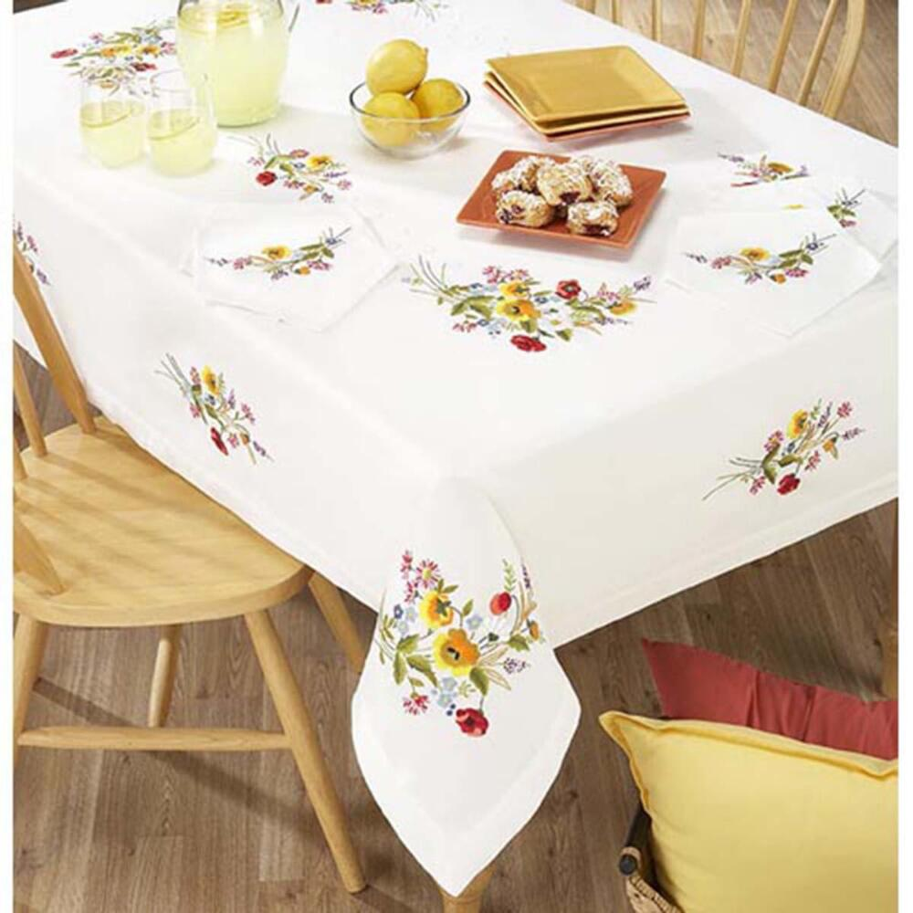 Village Linens Floral Fantasy Tablecloth Stamped ...