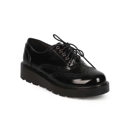 Refresh EC36 Women Polished Lace Up Wedge Spectator Wingtip Oxford
