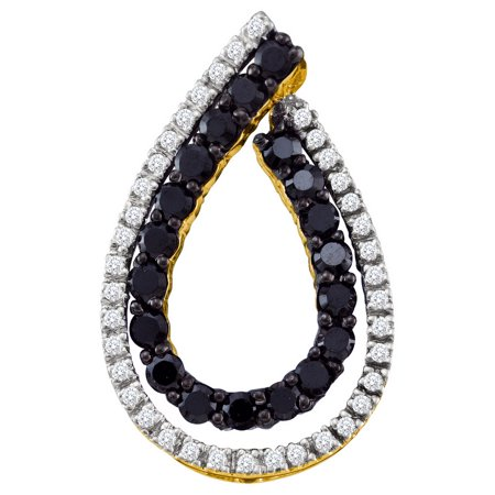 10K White Gold 0.49ctw Fancy Shiny Pave Black Diamond Fashion Loop Pendant