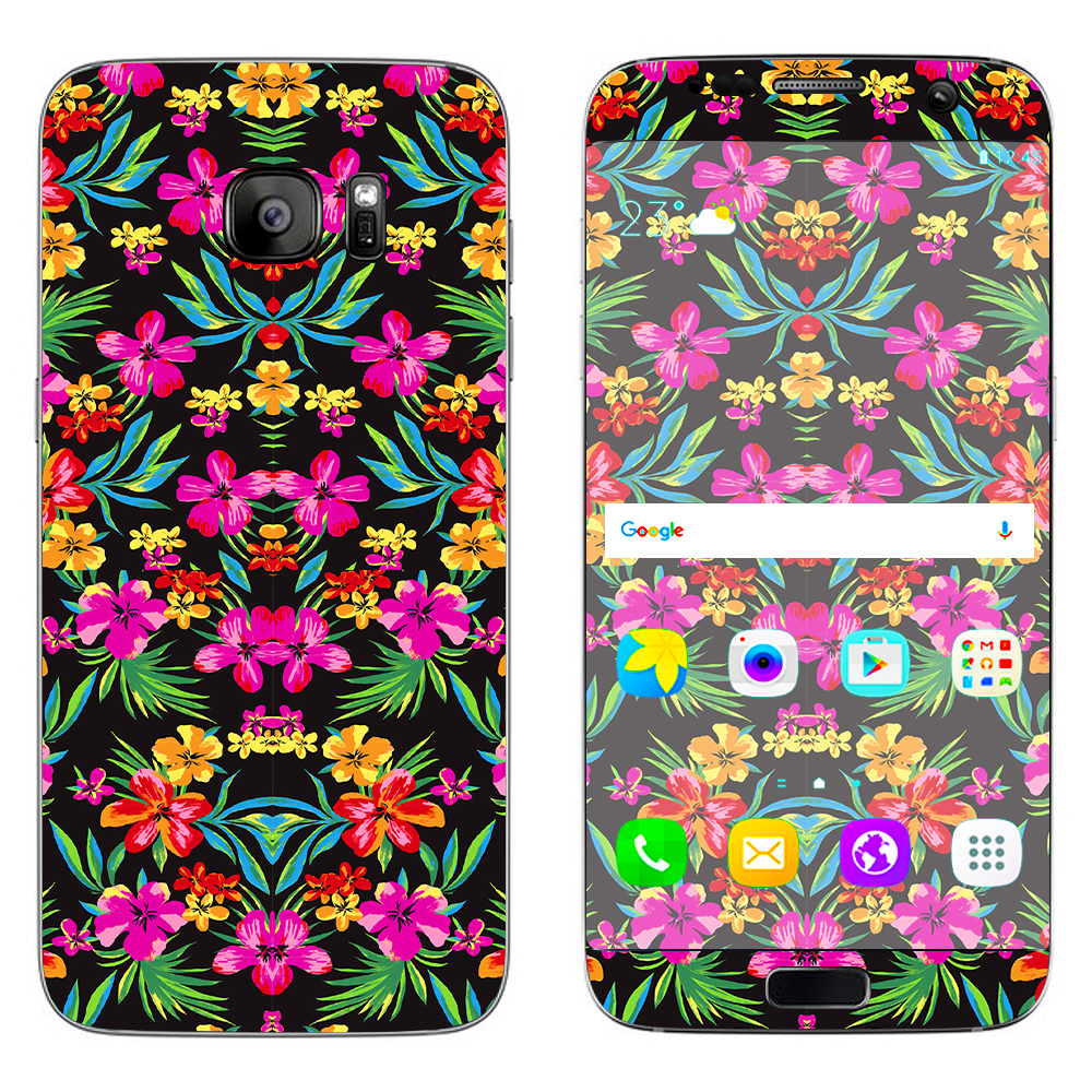 Skin Decal For Samsung Galaxy S7 Edge / Tropical Flowers, Hawaii