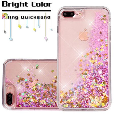 Apple Iphone 7 Plus Phone Case Bling Hybrid Liquid Glitter Quicksand Rubber Silicone Gel Tpu Protector Hard Cover   Pink Stars