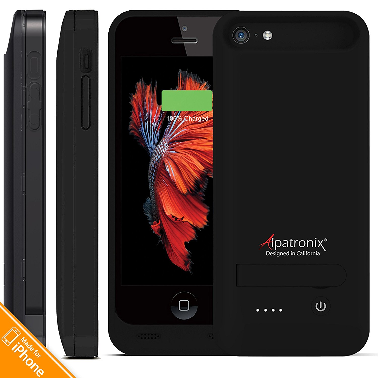 iPhone 5S / SE Battery Case, Alpatronix BX120 2400mAh Slim Protective External Rechargeable Portable Charging Case for iPhone SE, 5, 5S [MFi Certified, iOS 10+ Support] - Black