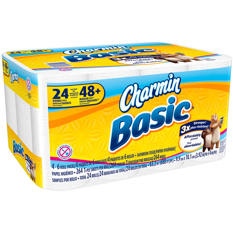 Charmin Basic Toilet Paper Double Rolls, 264 sheets, 24 count