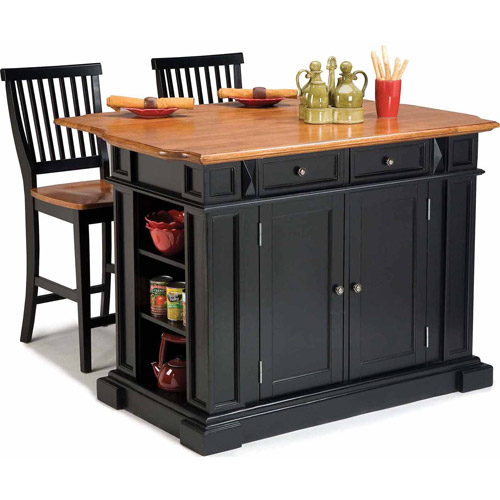 Home Styles Traditions Kitchen Island and Stools, Black/Distressed Oak