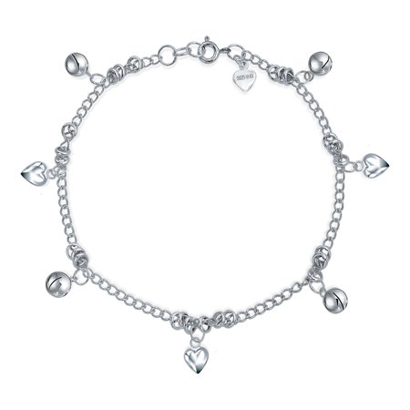 - Multi Jingle Bells And Hearts Dangle Charms Anklet Pattilu India Ankle Bracelet For Women 925 Sterling Silver 9.5 Inch