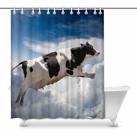 Mkhert A Super Dairy Cow Flying Over Clouds Waterproof Shower Curtain Decor Fabric Bathroom Set 66x72 Inch