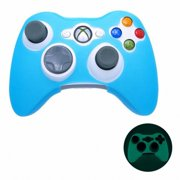 BLUE GLOW in DARK Xbox 360 Game Controller Silicone Case Skin Protector Cover