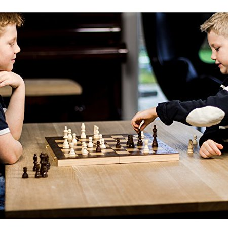 "GrowUpSmart Smart Tactics 16"" Folding Chess Set with Extra Queens Made by FSC Certified Wood - Standard Edition - image 2 of 4"