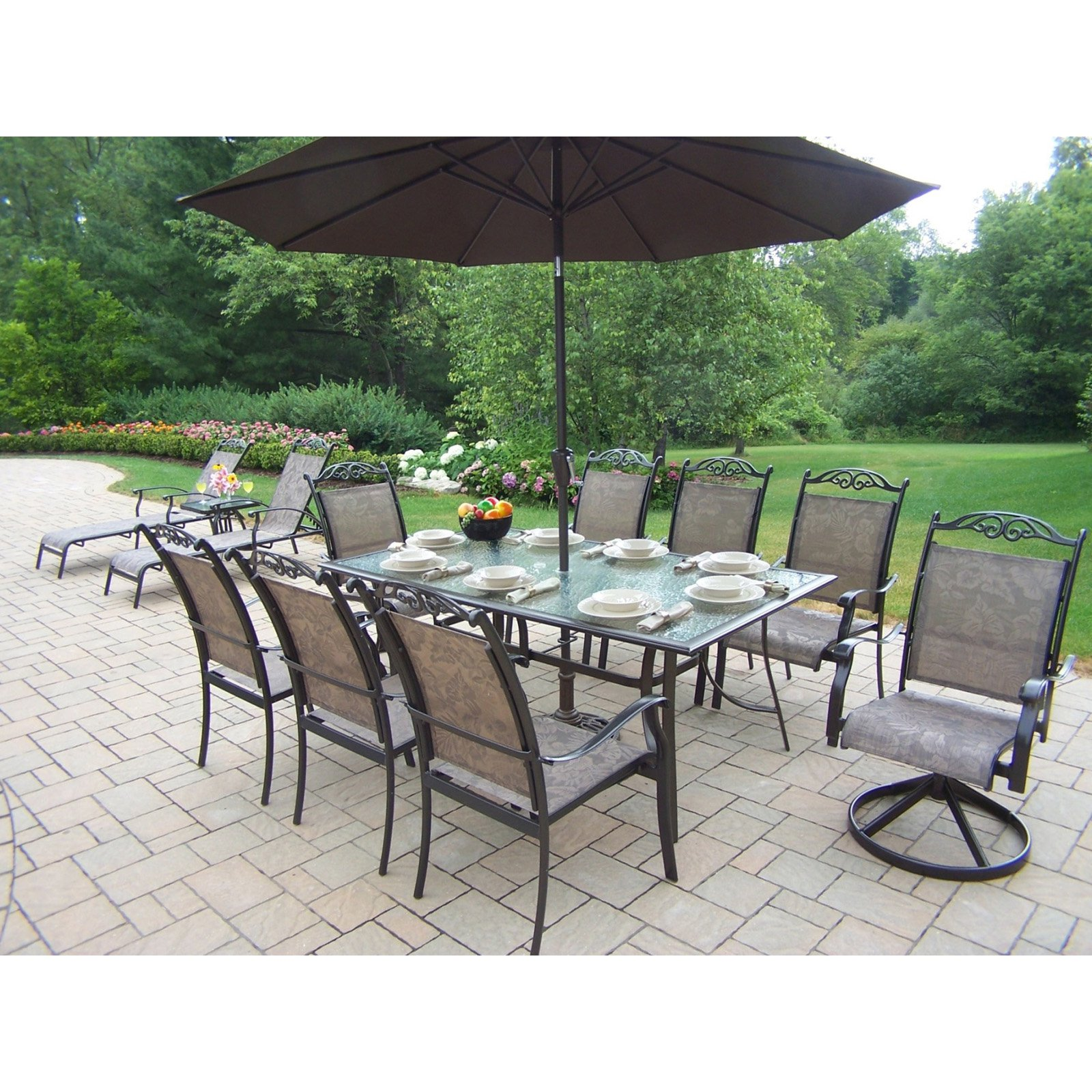 Oakland Living Cascade Patio Dining Room Set with Umbrella and Stand Plus Chaise Lounge Set by Oakland Living