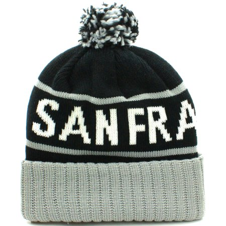 Image of American Cities San Francisco Cuff Beanie Cable Knit Pom Pom Hat Cap