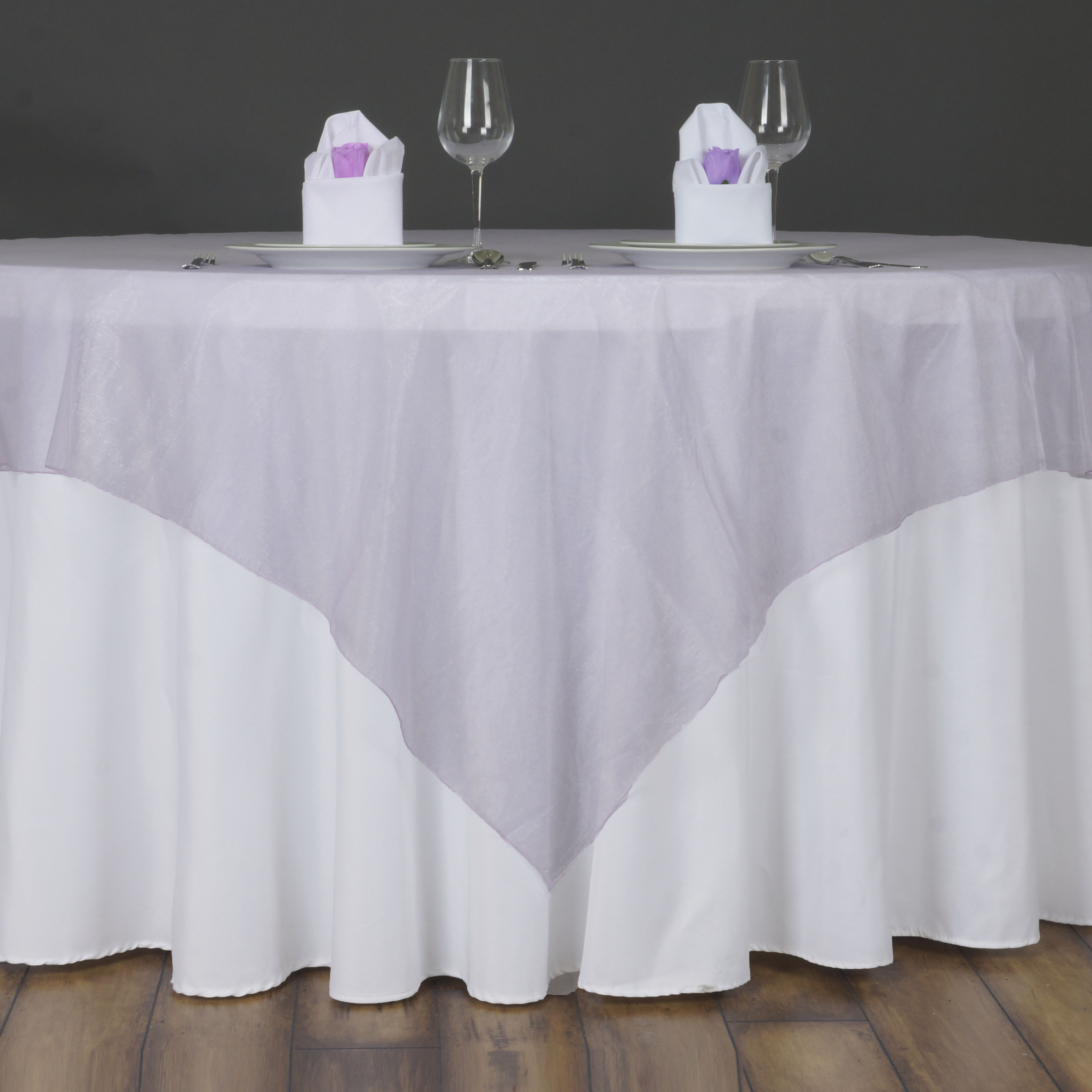"""BalsaCircle 72"""" x 72"""" Sheer Organza Table Overlays - Wedding Party Reception Catering Linens Dinner Banquet Event Decorations"""