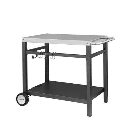 "Royal Gourmet PC3401M BBQ Work Table Double-shelf Dining Cart 34"" x 20"" Stainless Steel Flattop Removable Wrinkle Powder Leg"