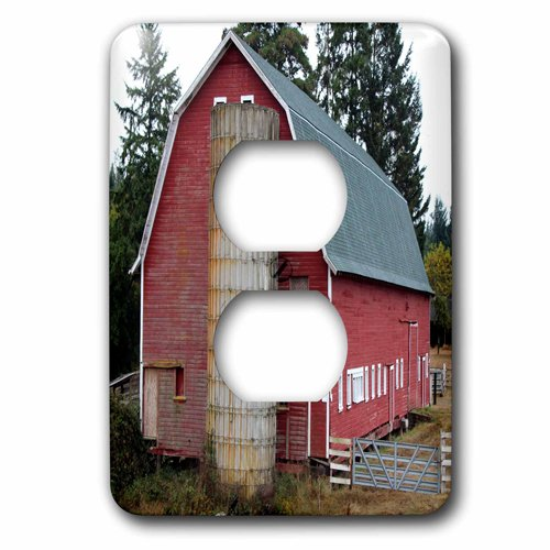 3dRose Print of Red Country Barn And Silo, 2 Plug Outlet Cover