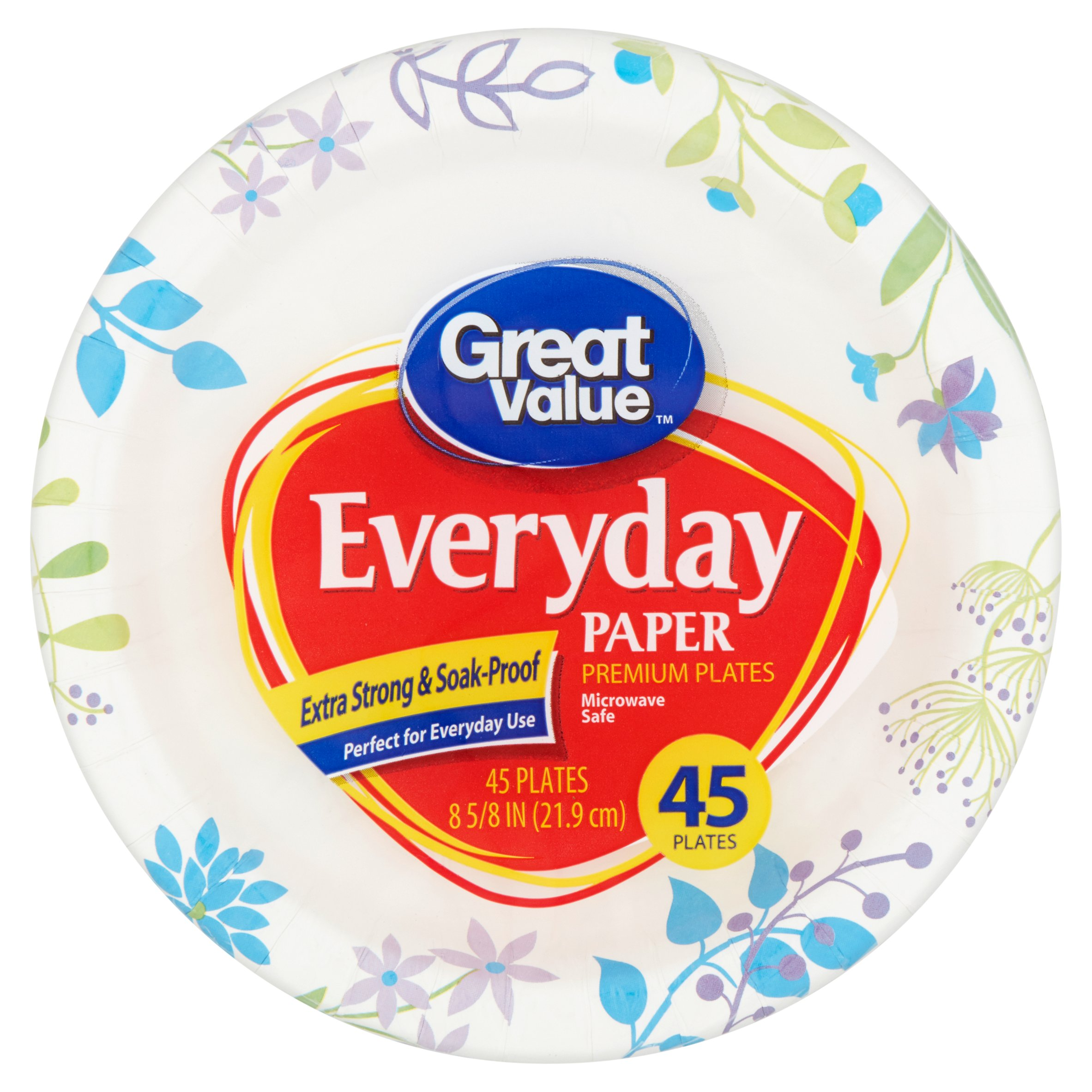 "Great Value Everyday Premium Paper Plates, 8 5/8"", 45 Count"