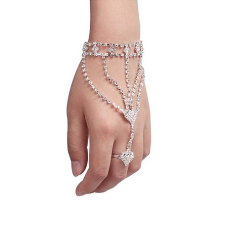 iLH Fashion Women Girl Rhinestone Hand Bangle Chain Link Finger Ring Bracelet