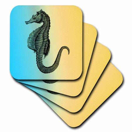 3dRose Aqua and Yellow Nautical Sea Horse, Soft Coasters, set of 8