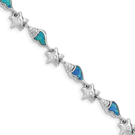 925 Sterling Silver Rhodium Starfish with Cubic Zirconia & Created Blue Opal Seashell Size 7.25 Bracelet - image 1 de 1