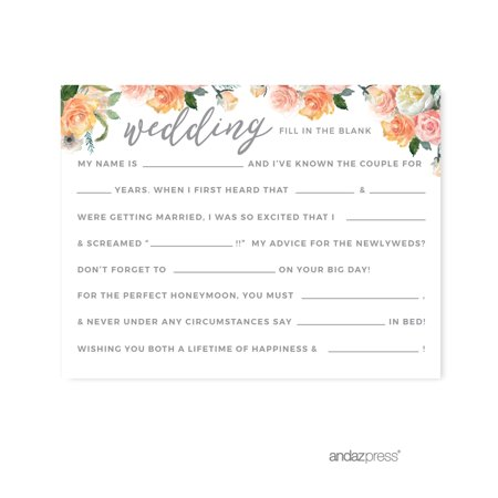 Peach Coral Floral Garden Party, Wedding Reception Fill in the Blanks Game Cards, 20-Pack
