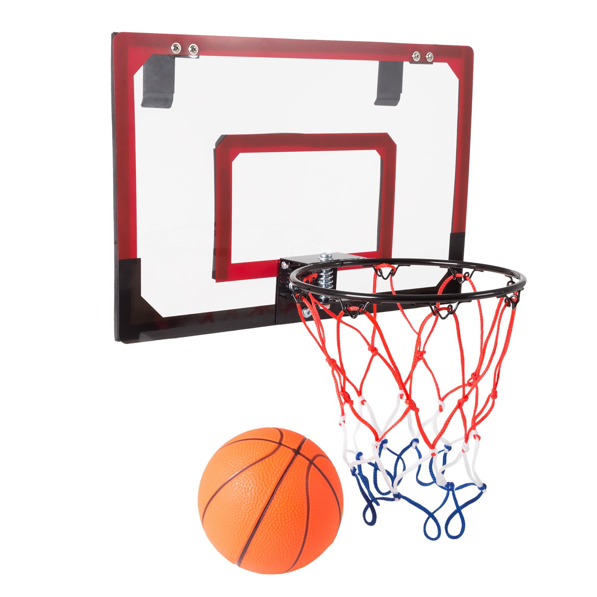 Mini Basketball Hoop With Ball And Breakaway Spring Rim For Over The Door Play By Hey Play Walmart Com Walmart Com