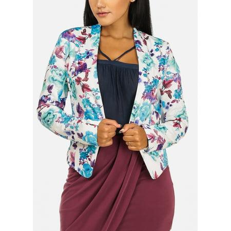 Womens Juniors Open Front Floral Print Multicolored Asymmetrical Hem Cute Blazer 10304I