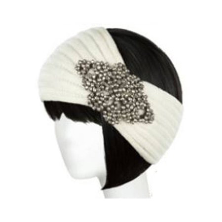 Womens Knitted Headband w/ Plastic Pearl Piece