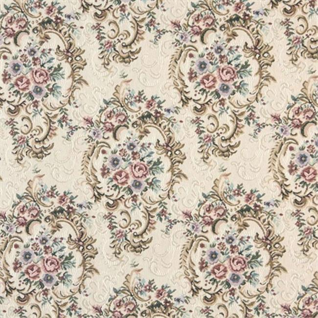 Designer Fabrics B773 54 in. Wide Burgundy, Green And Blue, Floral Tapestry Upholstery Fabric