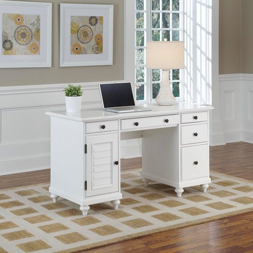 Bermuda Brushed White Pedestal Desk