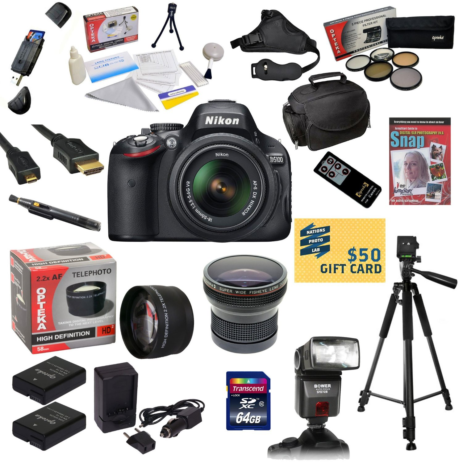 Nikon D5100 Digital SLR Camera with 18-55mm NIKKOR VR Lens With 64GB SDXC Card, Reader, 2x Batteries, Dual Charger, 0.20X + 2.2x Lens, 5 PC Filter, Flash, Case, Remote, Tripod, DVD, $50 Gift Card!
